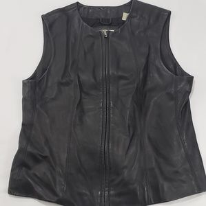 ❤Lord & Taylor Black Leather Moto Zip Up Vest